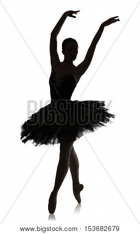 A silhouette of graceful ballerina making ballet position against white background, isolated. Professional dancer in tutu skirt. Choreography classes concept