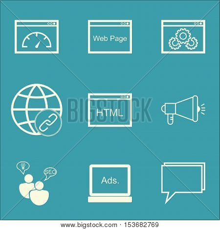 Set Of Advertising Icons On Digital Media, Conference And Coding Topics. Editable Vector Illustratio