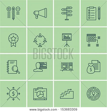 Set Of Project Management Icons On Announcement, Analysis And Computer Topics. Editable Vector Illus