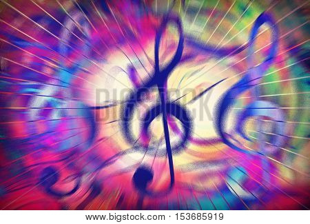 music clef in vivid dynamic stream of music, graphic design