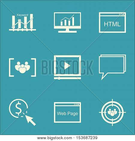 Set Of Seo Icons On Market Research, Video Player And Questionnaire Topics. Editable Vector Illustra