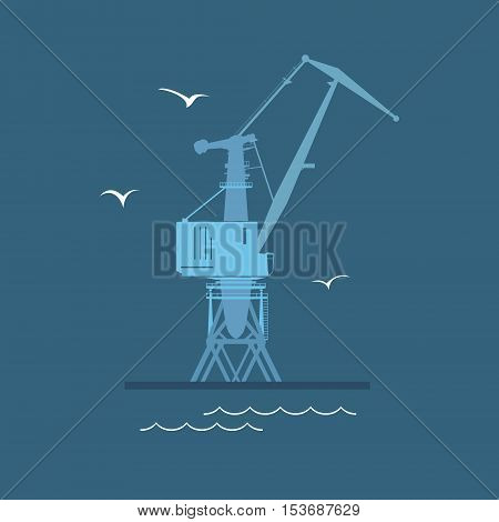 Marine Dockside Crane, Port Cargo Crane at Sea, Vector Illustration