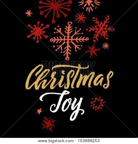 Christmas Joy Hand Drawn Calligraphy on Black Background