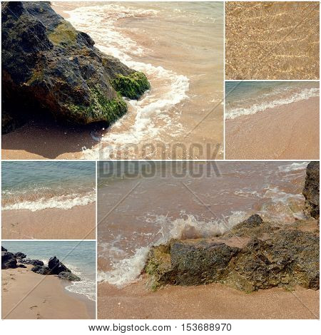 Collage of sea beach pictures. Set of summer vacation holiday images of solitary landscape