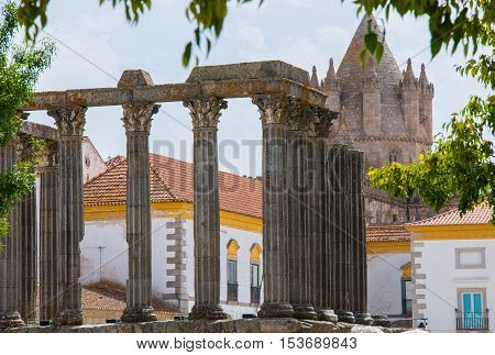 Dianna Temple in Evora. Ancient roman temple in the old city of Evora Portugal