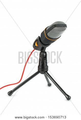 Black microphone with stand on a white background