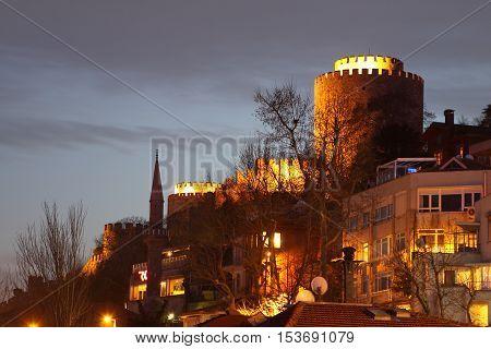 Ottoman Rumeli Fortress at night in Istanbul,Turkey