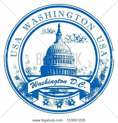 Grunge rubber stamp with Capitol Building and the word Washington, USA inside, vector illustration