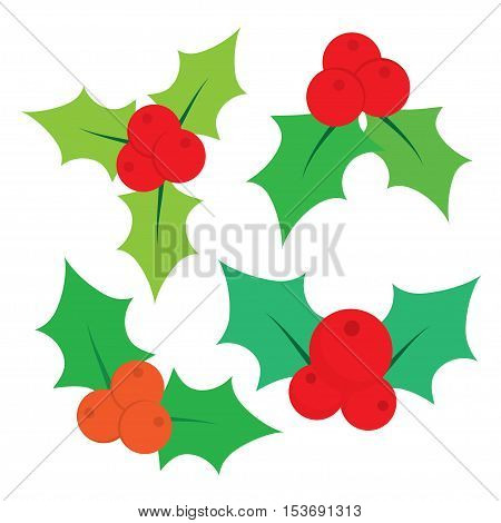 Christmas holly berry icon collection. Decorative twigs, bunches of holly with red berries. Set of Christmas holly leaves in a flat style.