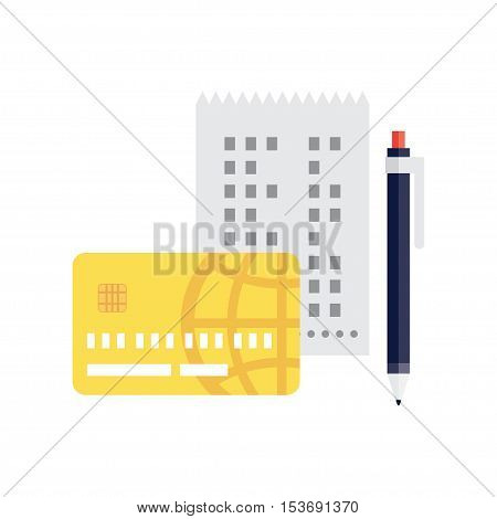 identification of a credit card holder. check, pen and credit card.