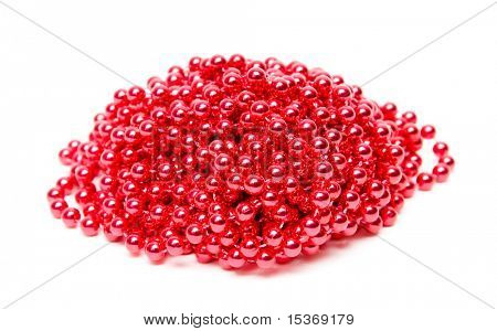 Red pearls imitation. Isolated on white.