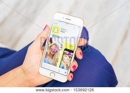 RIGA LATVIA - SEPTEMBER 8 2016: Snapchat app on App Store.