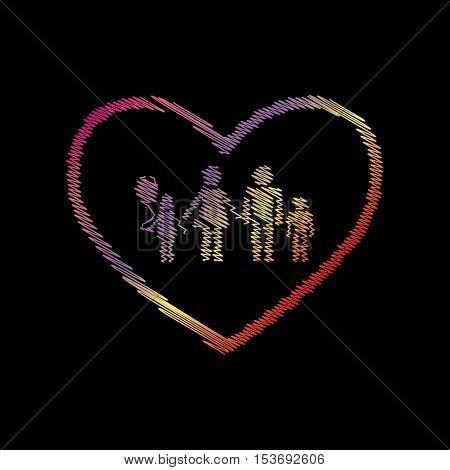 Family sign illustration in heart shape. Coloful chalk effect on black backgound.