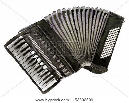 watercolor sketch of accordion on white background