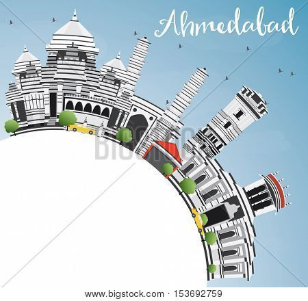 Ahmedabad Skyline with Gray Buildings, Blue Sky and Copy Space. Vector Illustration. Business Travel and Tourism Concept with Historic Architecture. Image for Presentation Banner Placard and Web Site.