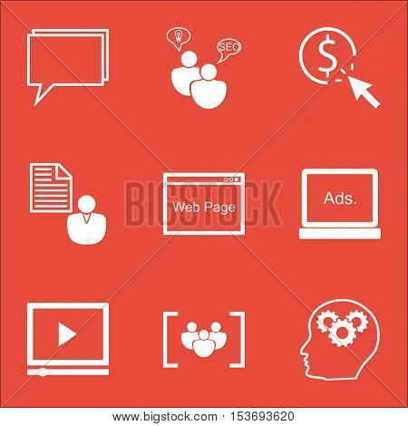 Set Of Seo Icons On Website, Seo Brainstorm And Conference Topics. Editable Vector Illustration. Inc
