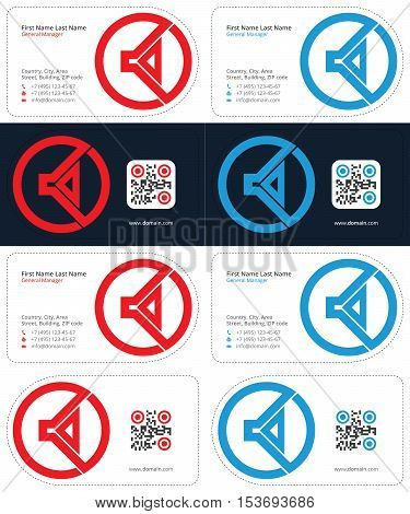 red and blue colors, speaker business cards with a qr code, die cut cards