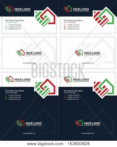 auction and real estate business cards, dark blue, green and red colors, house cards