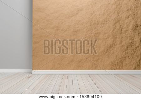 Empty interior light brown room with wooden floor For display of your products. - 3D render image.