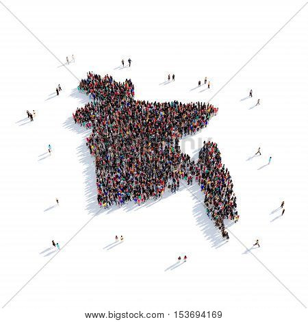 Large and creative group of people gathered together in the form of a map Bangladesh, a map of the world. 3D illustration, isolated against a white background. 3D-rendering.