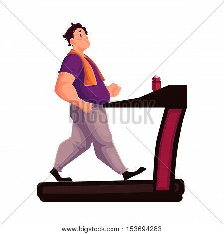 Fat man walking on the treadmill, cartoon vector illustration isolated on white background. Obese, fat, chubby man trying to get fit by walking on the treadmill, cardio exercises