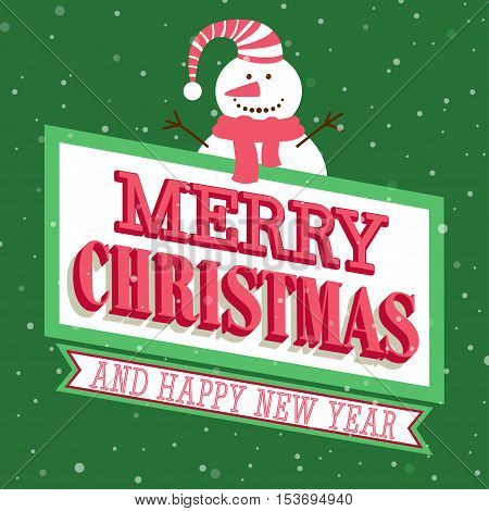 Merry Christmas and Happy New Year typographic design. Vector illustration.