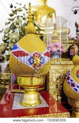 Bangkok, Thailand - December 7, 2015: Decoration next to the statue Big Golden Buddha image inside the hall of Wat Pho public temple Bangkok Thailand.
