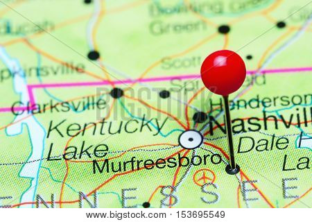 Murfreesboro pinned on a map of Tennessee, USA