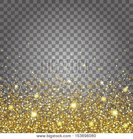 Effect of flying parts gold glitter luxury rich design background. Light gray background bottom. Stardust spark the explosion on a transparent background. Luxury golden texture