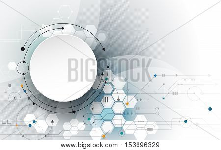 Vector Abstract futuristic, 3d paper circle on circuit board, Illustration high computer technology, light gray color background. Hi-tech digital technology concept