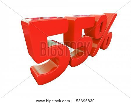 3d Render: Isolated 55 Percent Sign on White Background