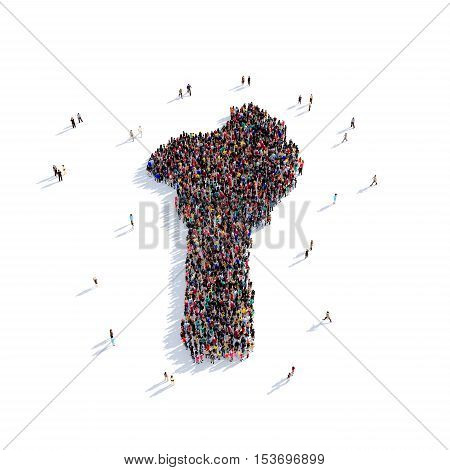 Large and creative group of people gathered together in the form of a map Benin, a map of the world. 3D illustration, isolated against a white background. 3D-rendering.