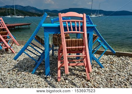 Chairs and tables tavern by the sea on the island of Lefkada