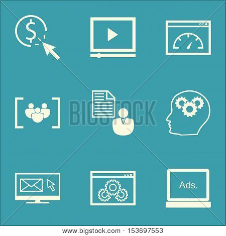 Set Of Seo Icons On Digital Media, Brain Process And Report Topics. Editable Vector Illustration. In