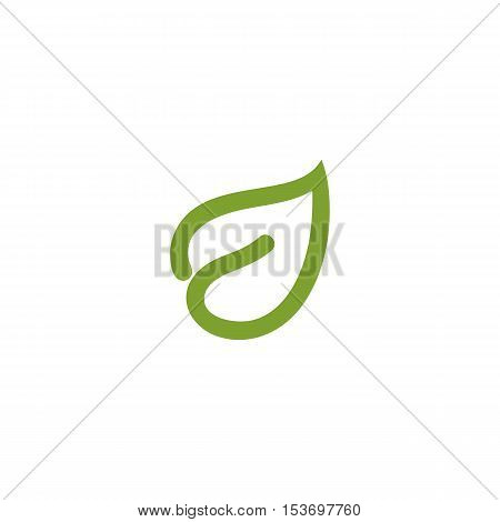 Isolated abstract green color leaf contour logo. Healthcare logotype. Natural cosmetics icon. Eco system sign. Spring element. Vector leaf illustration