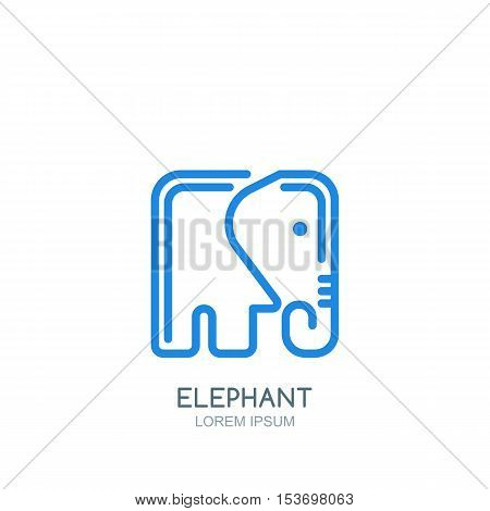 Vector Logo, Label Or Emblem Design Template With Linear Style Square Elephant.