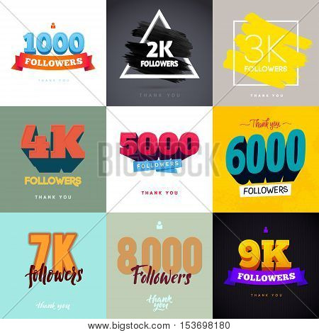 Vector thanks design template SET for network friends and followers. Thank you followers card. Image for Social Networks. Web user celebrates a large number of subscribers or followers.