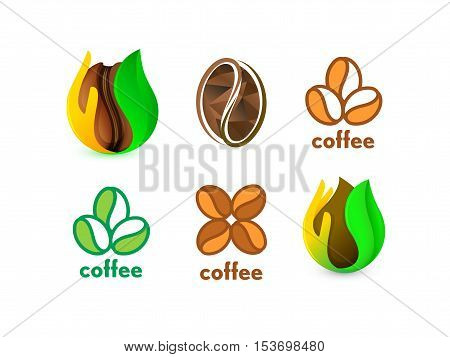 Isolated abstract coffee bean logo set. Eco energetic drink logotype collection. Natural seed icon. Brown drop in palm and green leaf. Vector cacao illustration
