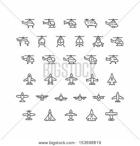 Set line icons of helicopters and planes isolated on white. Vector illustration