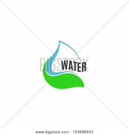 Isolated abstract blue water drop in green leaf logo. Natural pure liquid logotype. Fresh drink icon. Dew sign. Vector water drop illustration