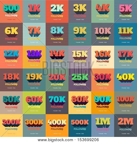 Retro Thanks Design SET for Network Friends and Followers. Thank you followers card. Image for Social Networks. Web user celebrates a large number of subscribers or followers