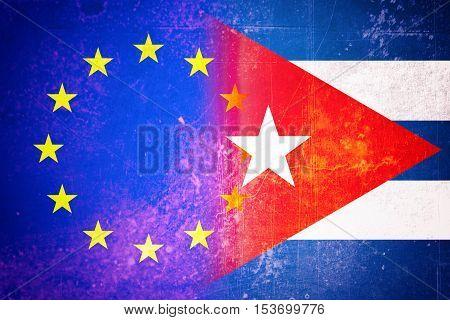 EU and Cuba flag - Vintage flag concept