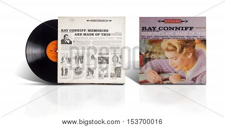 Rishon LeZion, Israel-August 4, 2016: Old used vinyl album Ray Conniff And his Orchestra and Chorus-Memories are made of this. The LP was printed in Mexico