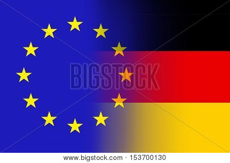 EU and Germany flags - Vintage flag concept