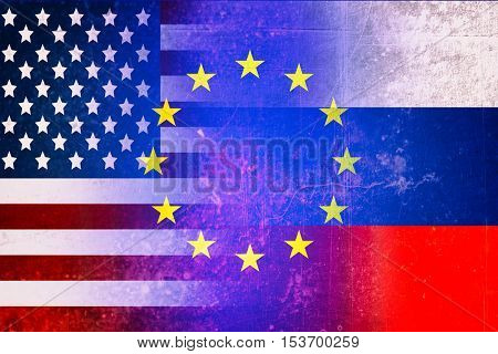 Usa, EU and Russia flags - Political crisis concept