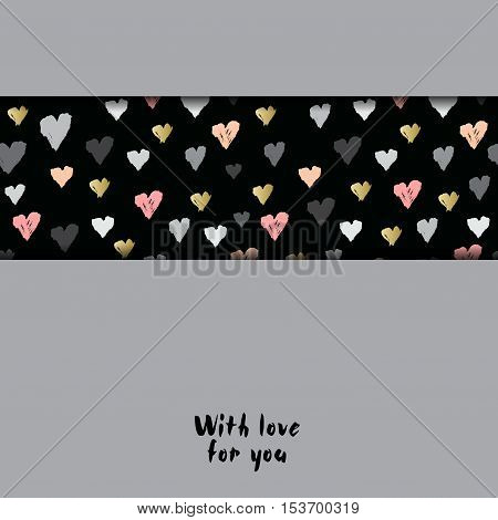 Gray horizontal design with hearts confetti on black background. Romantic trendy heart frame. Valentine day design for love card, valentine day greetings. Vector illustration stock vector.