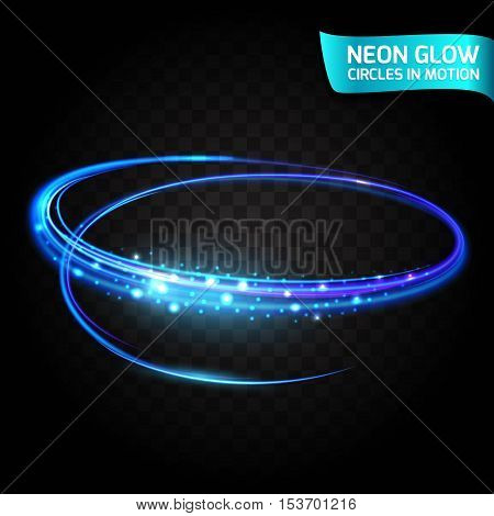 Neon Glow circles in motion blurred edges, bright glow glare, magical glow, colorful design holiday. Abstract glowing rings slow shutter speed of the effect. Abstract lights in a circular motion.