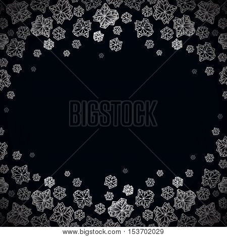 Horizontal border frame. Winter polygonal trendy style snowflakes on black white background. Winter holidays snowfall concept winter label. Snowflake vector illustration stock vector.