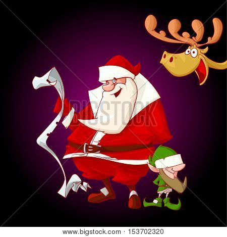 Colorful vector illustration of cartoon Christmas characters. Santa Claus holding a children list Elf and a deer peeking from the edge of the screen