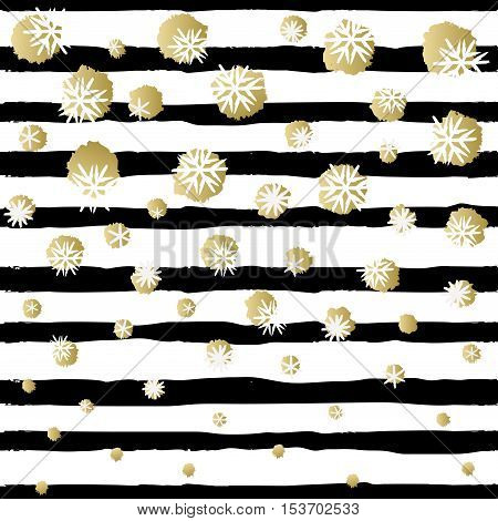 Black and white striped design with golden snowfal. Holiday trendy black and gold frame. For winter holiday greetings card. Vector illustration stock vector.